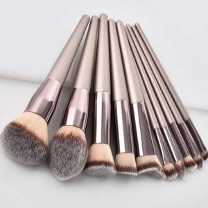 Champagne colored makeup brush set